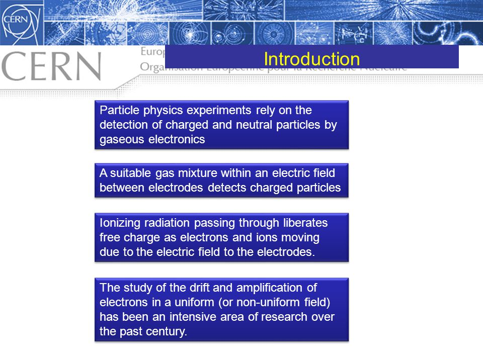 Introduction Particle physics experiments rely on the detection of charged and neutral particles by gaseous electronics.