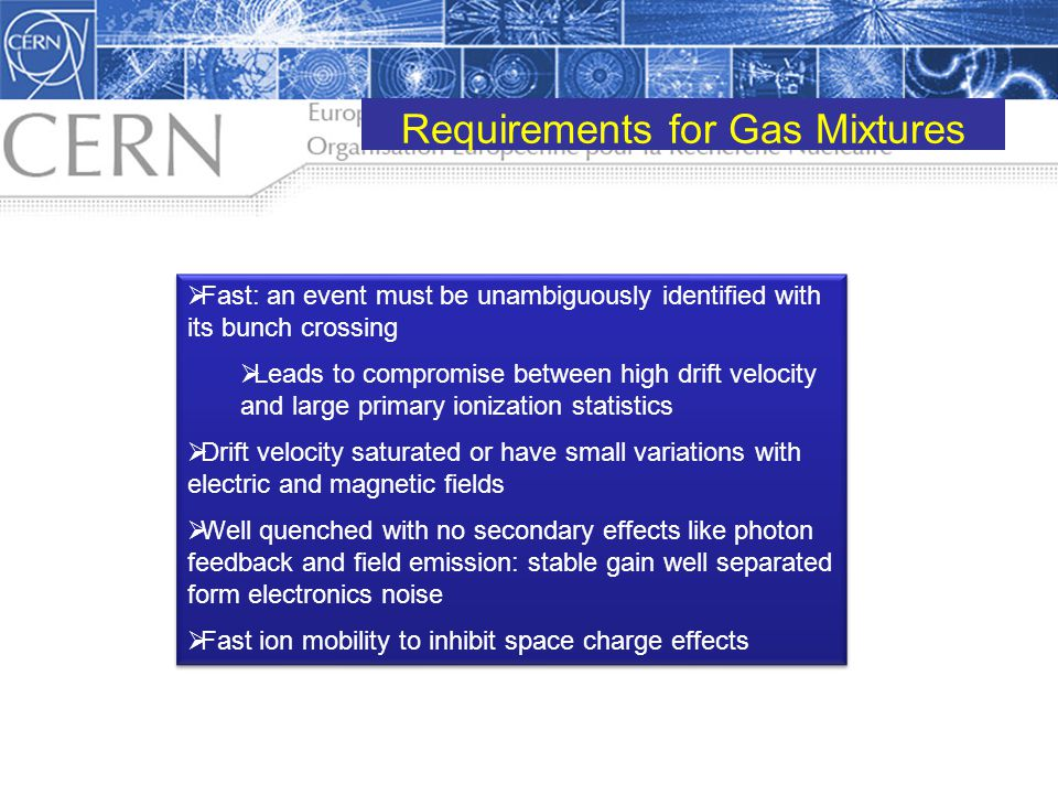 Requirements for Gas Mixtures