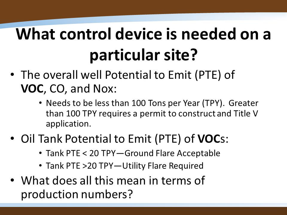 What control device is needed on a particular site