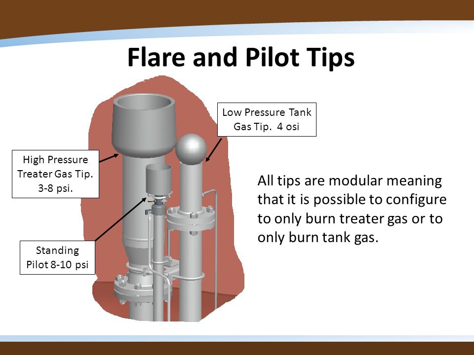 Flare and Pilot Tips Low Pressure Tank Gas Tip. 4 osi. High Pressure Treater Gas Tip. 3-8 psi.