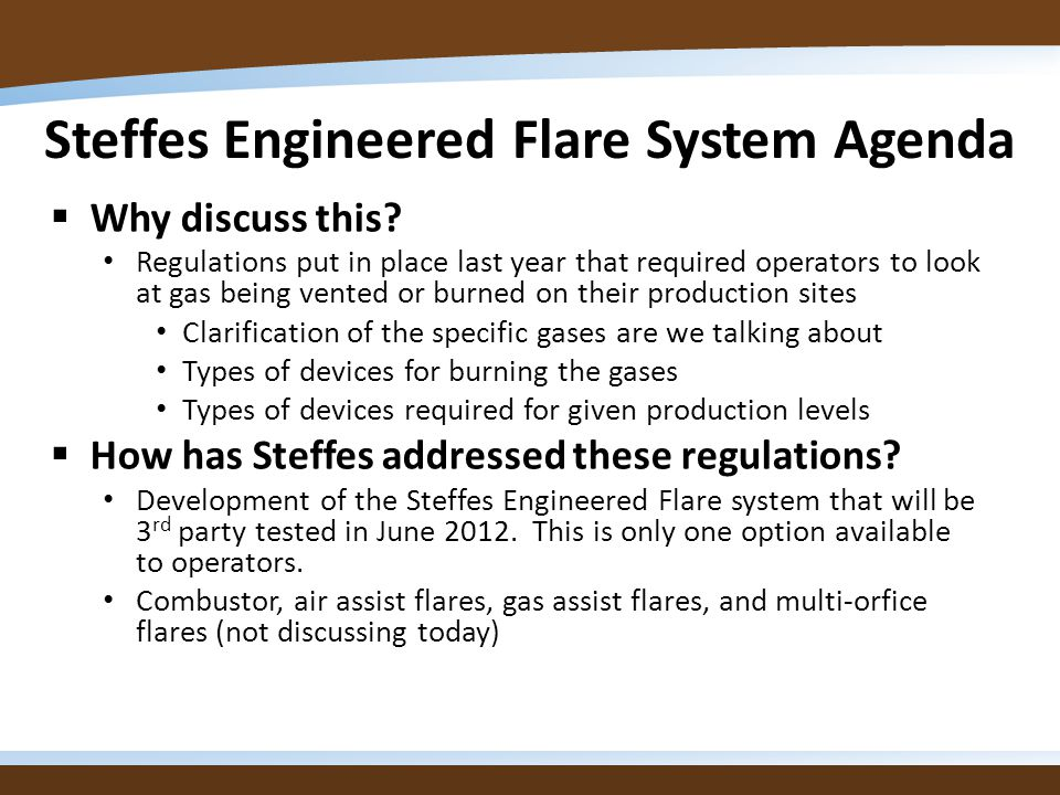 Steffes Engineered Flare System Agenda