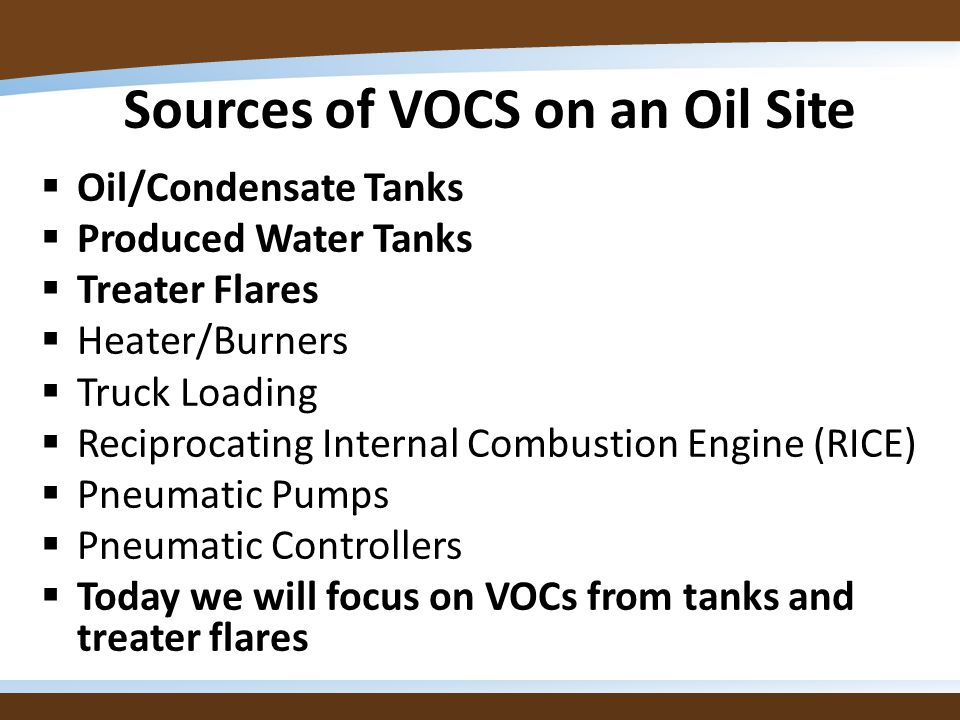 Sources of VOCS on an Oil Site