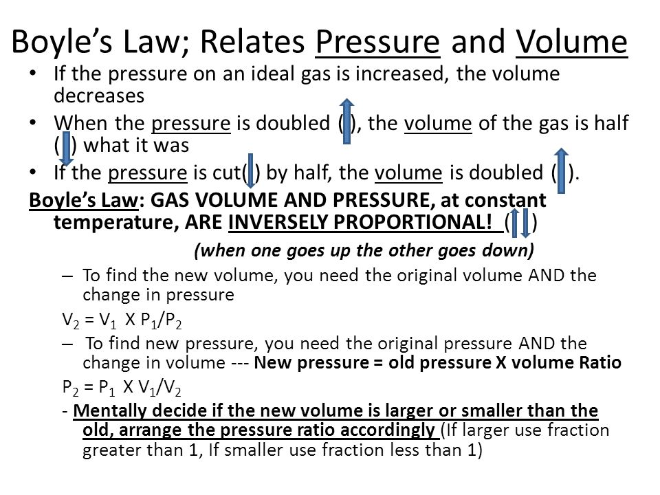 Boyle's Law; Relates Pressure and Volume