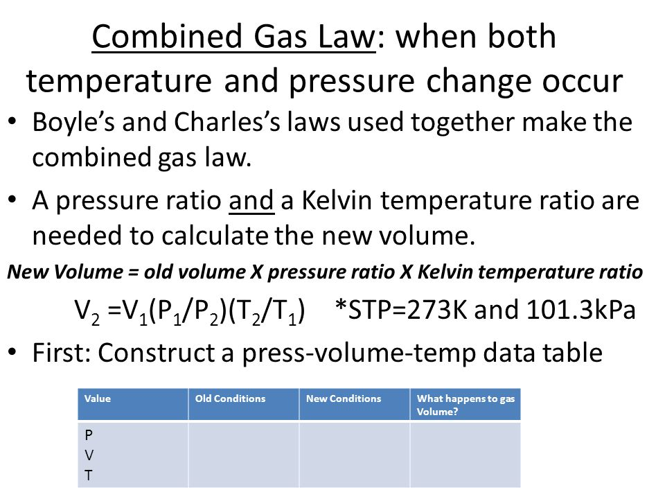 Combined Gas Law: when both temperature and pressure change occur