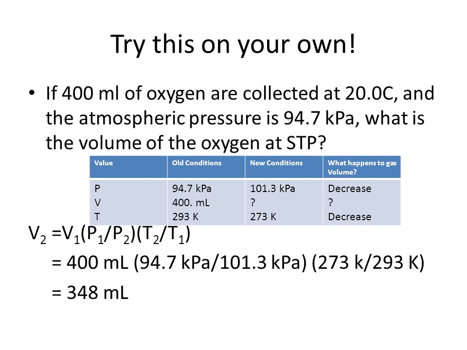 Try this on your own! If 400 ml of oxygen are collected at 20.0C, and the atmospheric pressure is 94.7 kPa, what is the volume of the oxygen at STP