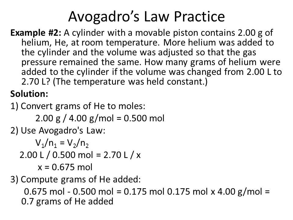 Avogadro's Law Practice