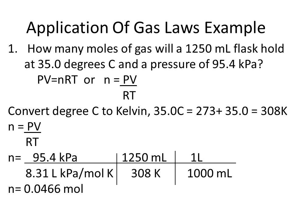 Application Of Gas Laws Example