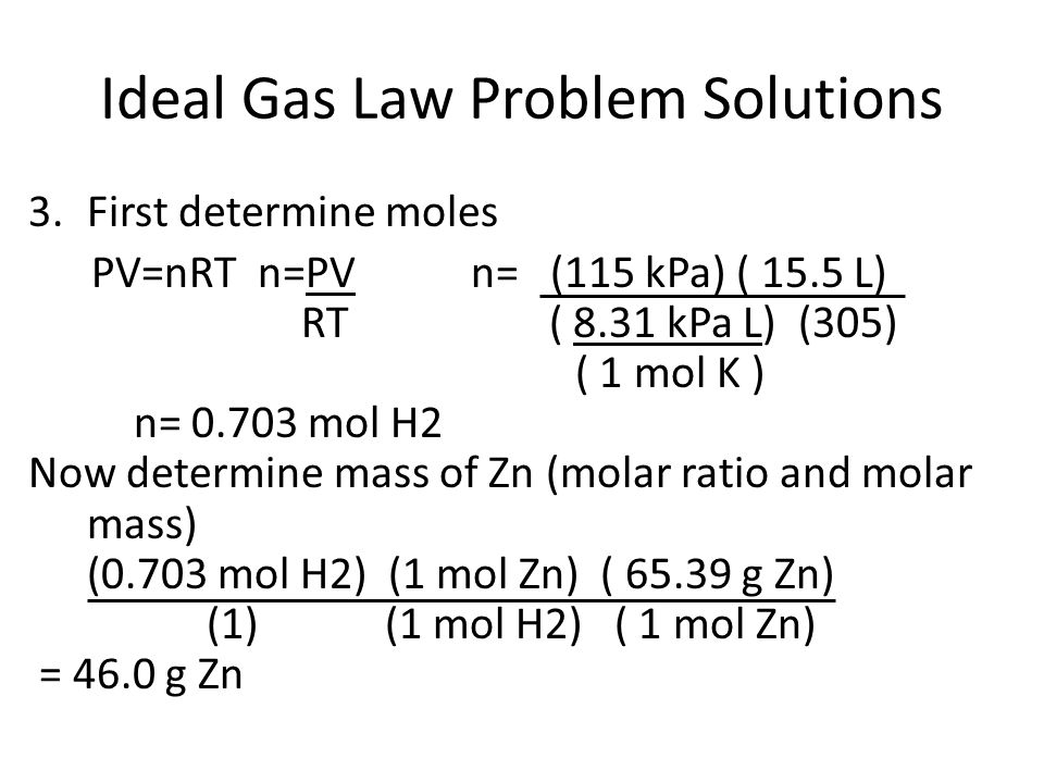 Ideal Gas Law Problem Solutions