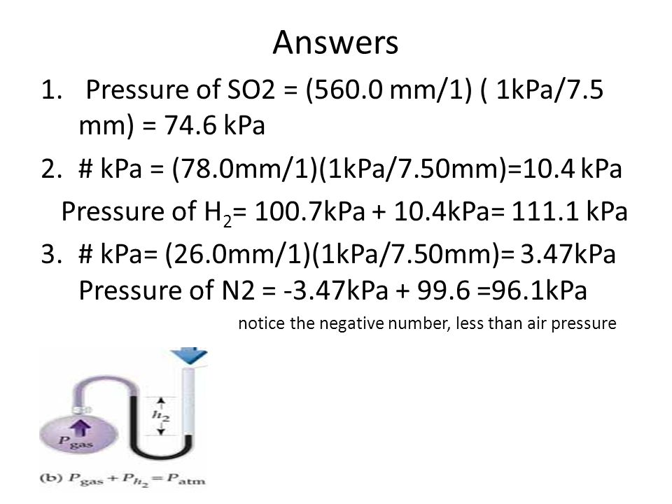 Answers Pressure of SO2 = (560.0 mm/1) ( 1kPa/7.5 mm) = 74.6 kPa