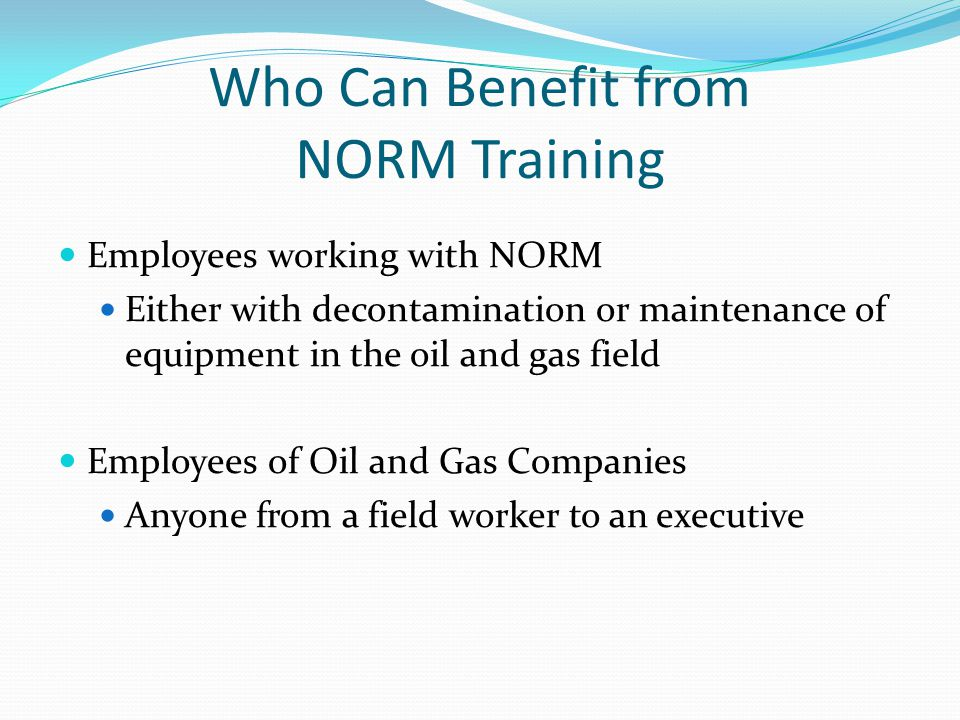 Who Can Benefit from NORM Training