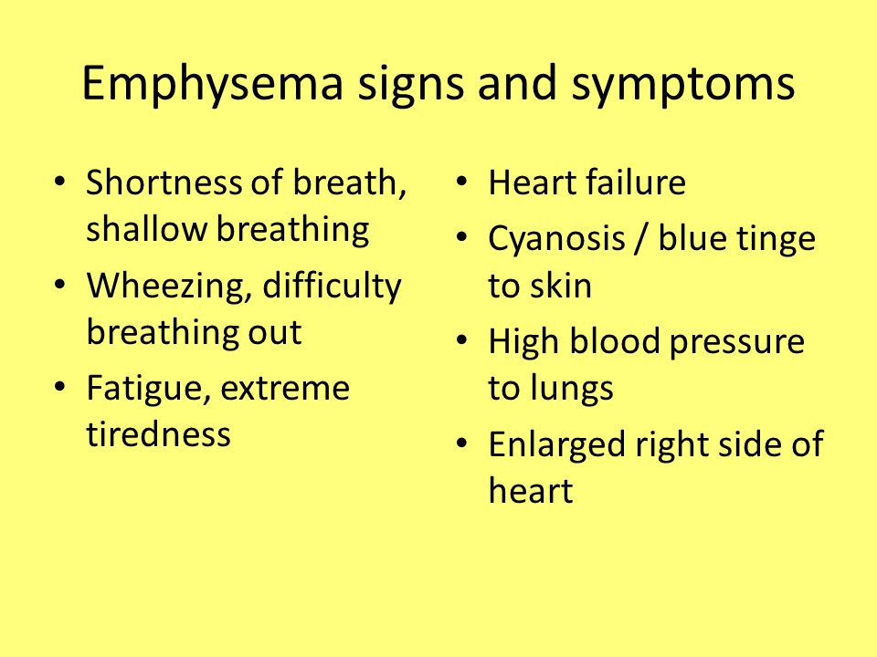 Emphysema signs and symptoms