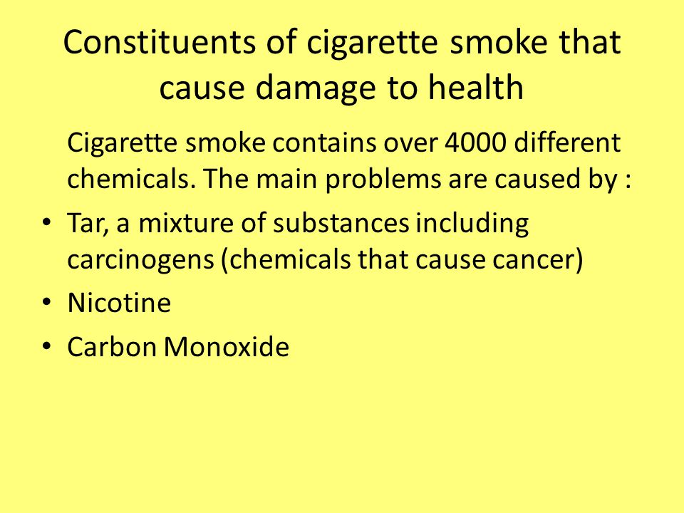 Constituents of cigarette smoke that cause damage to health