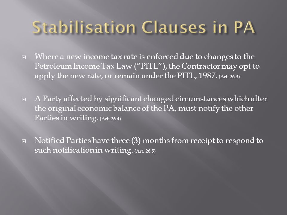 Stabilisation Clauses in PA