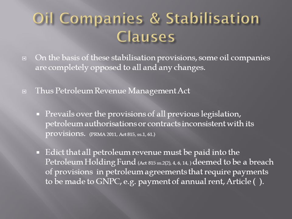 Oil Companies & Stabilisation Clauses