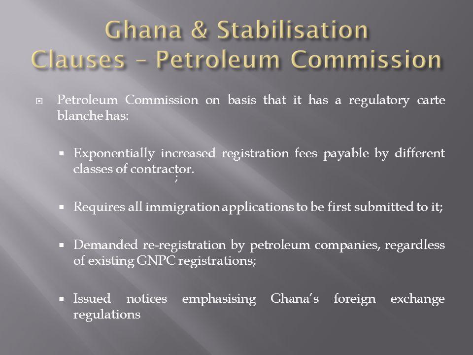 Ghana & Stabilisation Clauses – Petroleum Commission