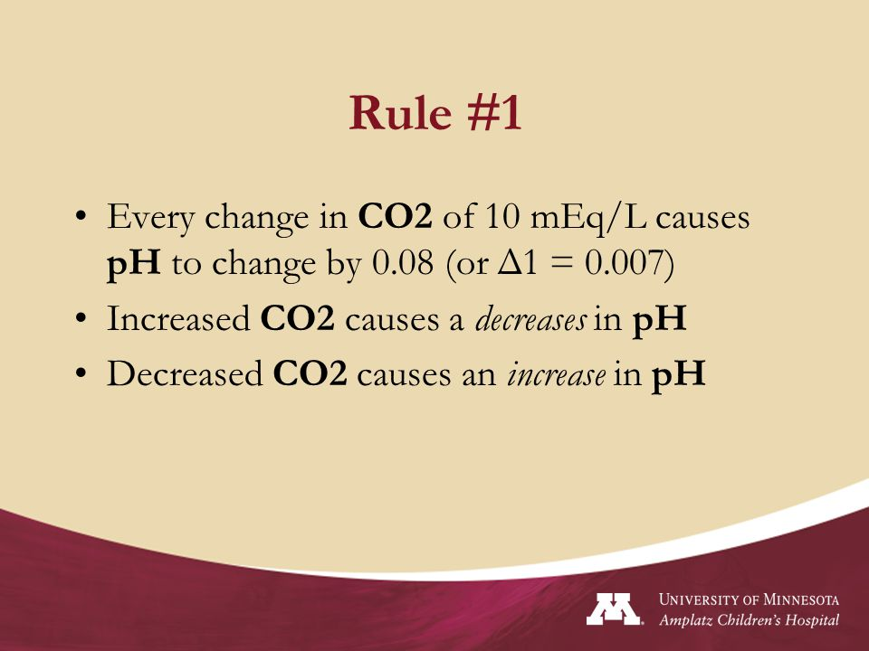 Rule #1 Every change in CO2 of 10 mEq/L causes pH to change by 0.08 (or Δ1 = 0.007) Increased CO2 causes a decreases in pH.