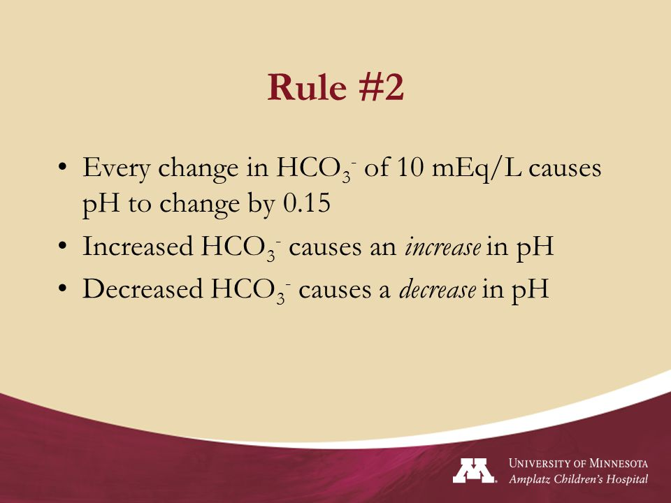 Rule #2 Every change in HCO3- of 10 mEq/L causes pH to change by 0.15