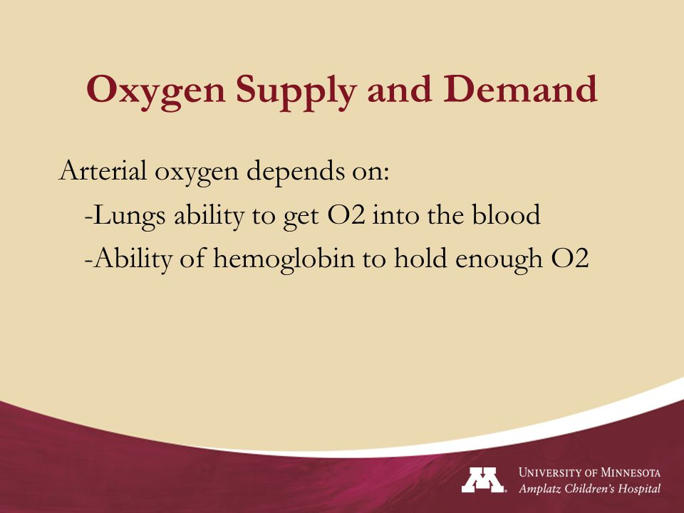 Oxygen Supply and Demand