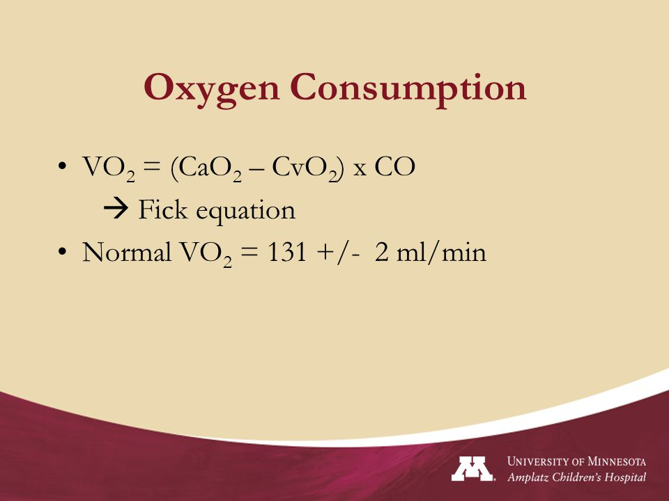 Oxygen Consumption VO2 = (CaO2 – CvO2) x CO  Fick equation