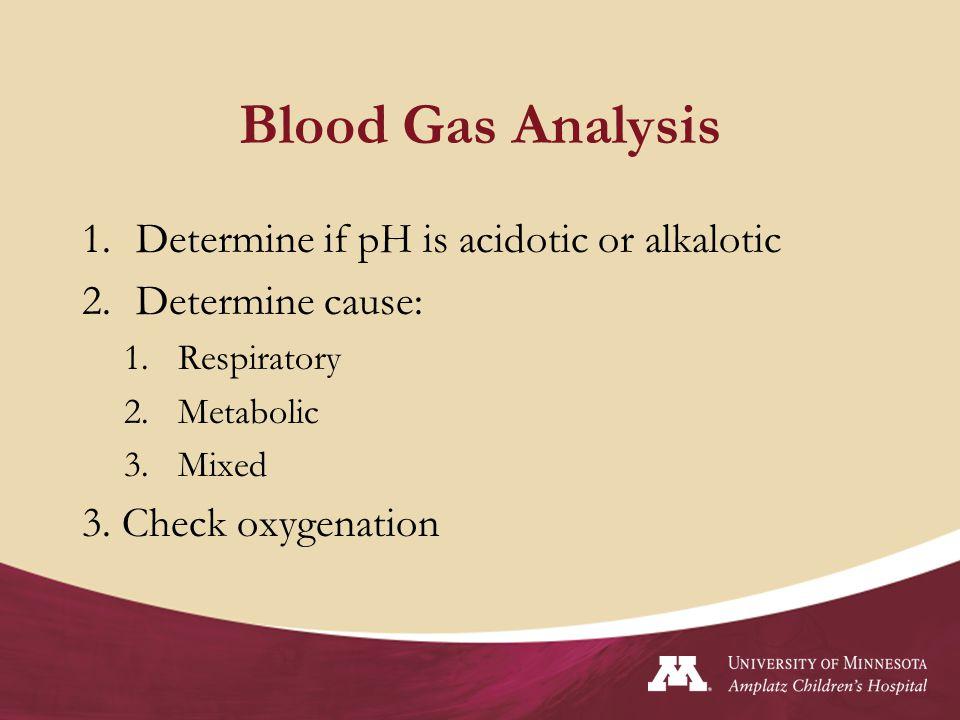 Blood Gas Analysis Determine if pH is acidotic or alkalotic