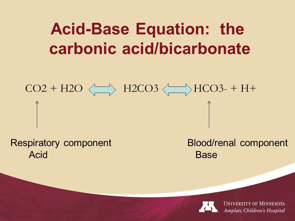 Acid-Base Equation: the carbonic acid/bicarbonate