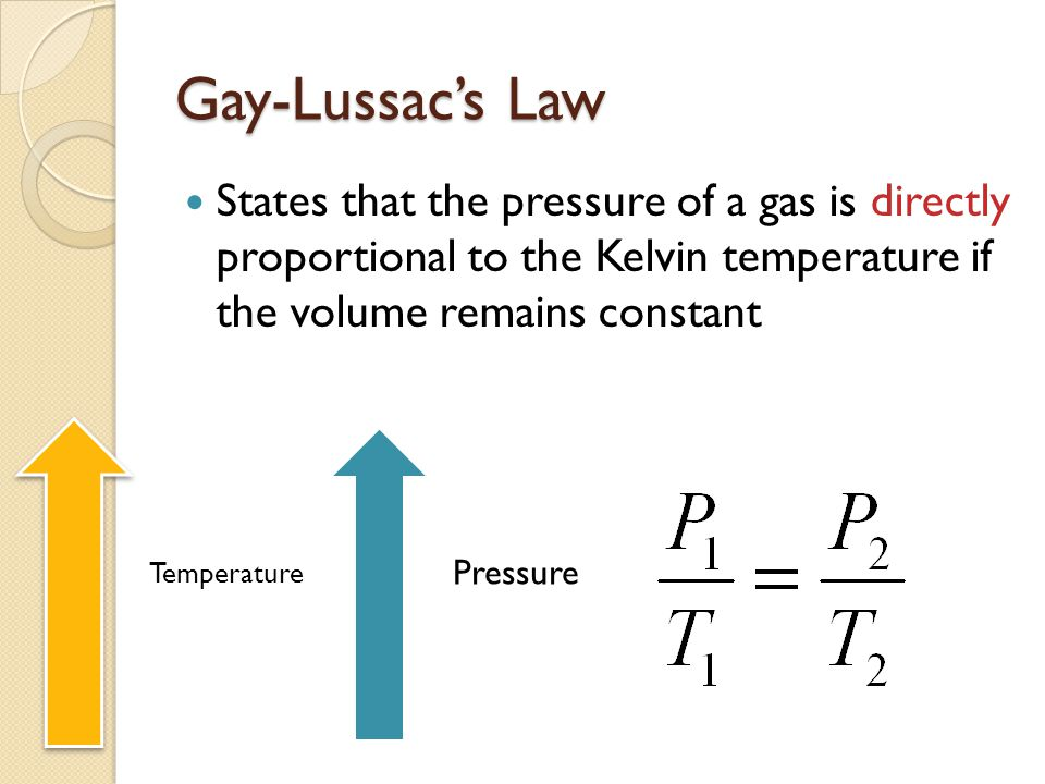 Gay-Lussac's Law States that the pressure of a gas is directly proportional to the Kelvin temperature if the volume remains constant.