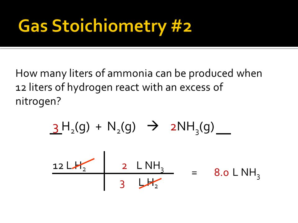 Gas Stoichiometry #2 3 H2(g) + N2(g)  2NH3(g)