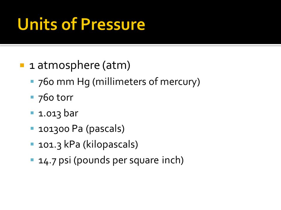 Units of Pressure 1 atmosphere (atm)