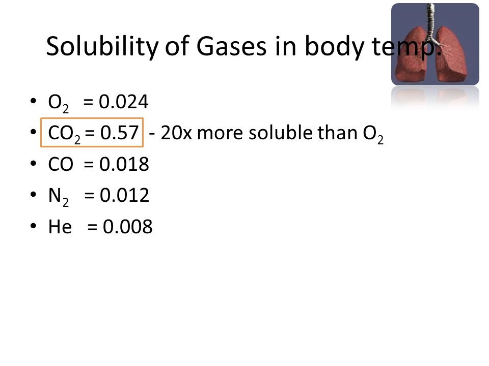 Solubility of Gases in body temp.