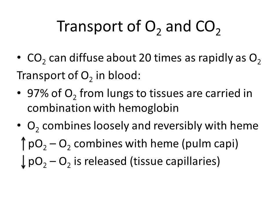 Transport of O2 and CO2 CO2 can diffuse about 20 times as rapidly as O2. Transport of O2 in blood: