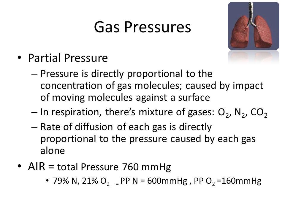 Gas Pressures Partial Pressure AIR = total Pressure 760 mmHg