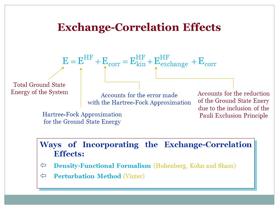 Exchange-Correlation Effects