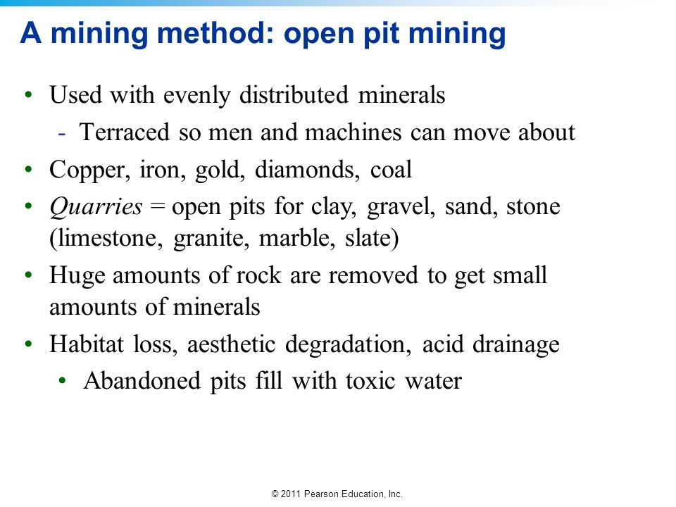 A mining method: open pit mining