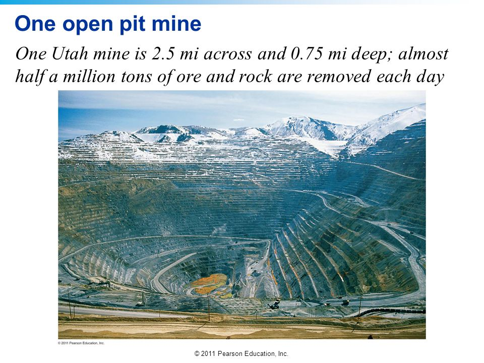 One open pit mine One Utah mine is 2.5 mi across and 0.75 mi deep; almost half a million tons of ore and rock are removed each day.