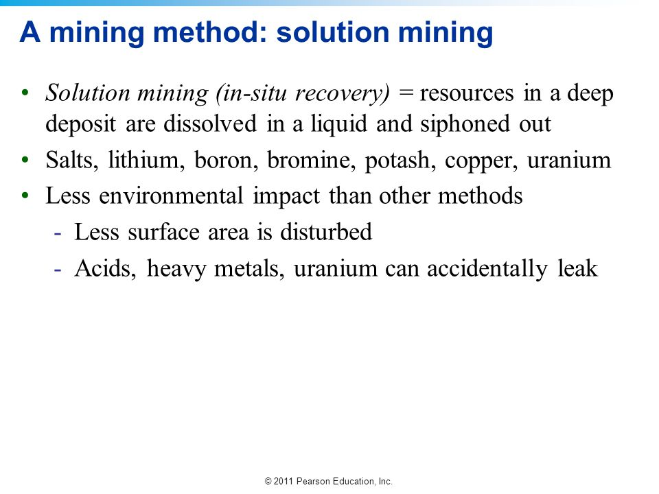 A mining method: solution mining