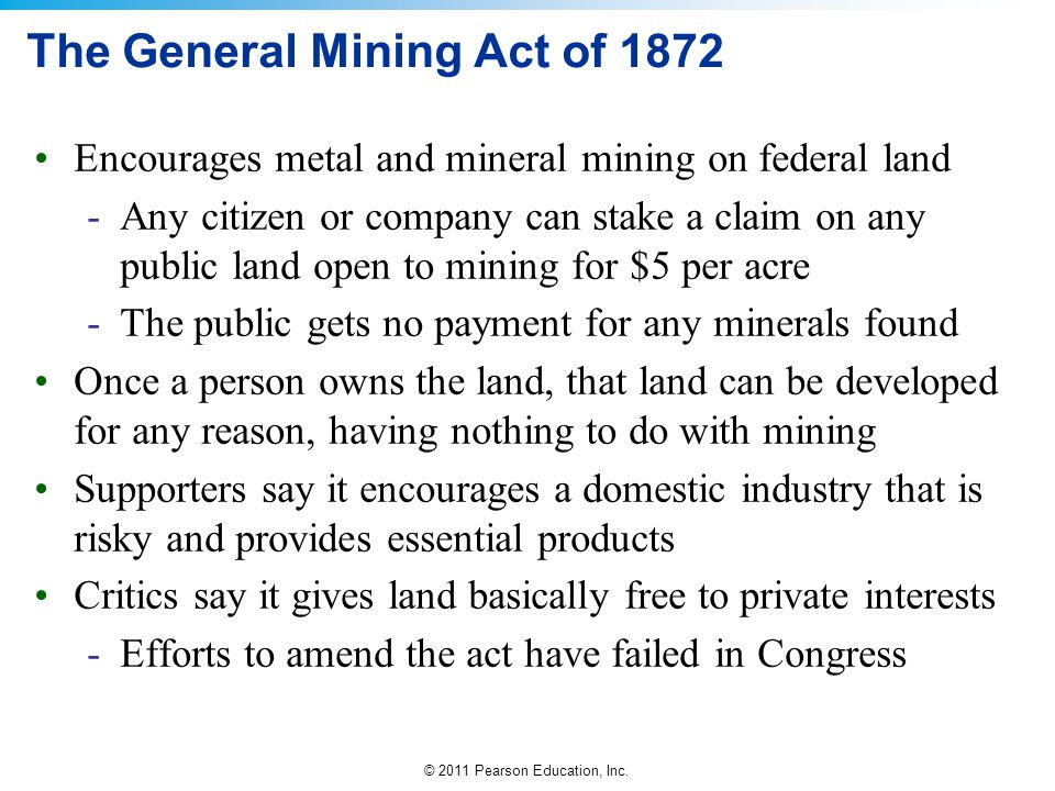 The General Mining Act of 1872