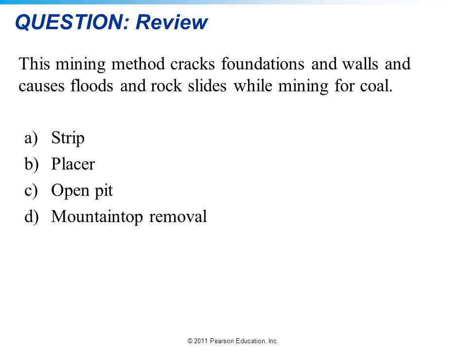 QUESTION: Review This mining method cracks foundations and walls and causes floods and rock slides while mining for coal.