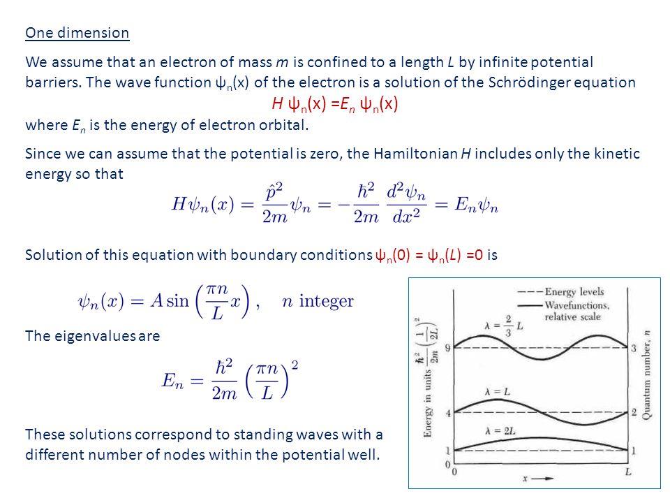 H ψn(x) =En ψn(x) One dimension