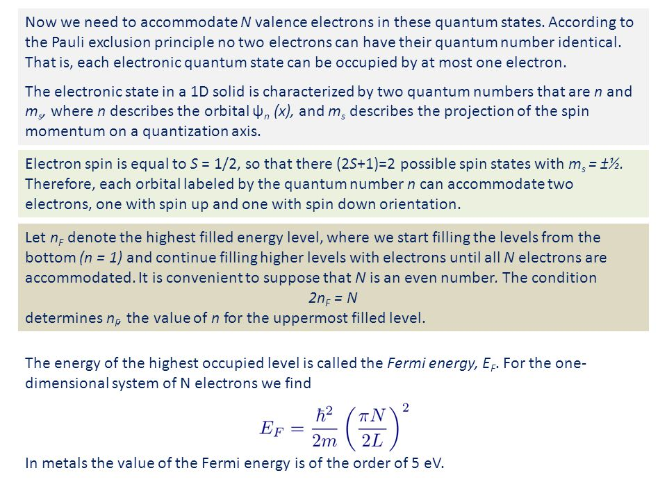Now we need to accommodate N valence electrons in these quantum states