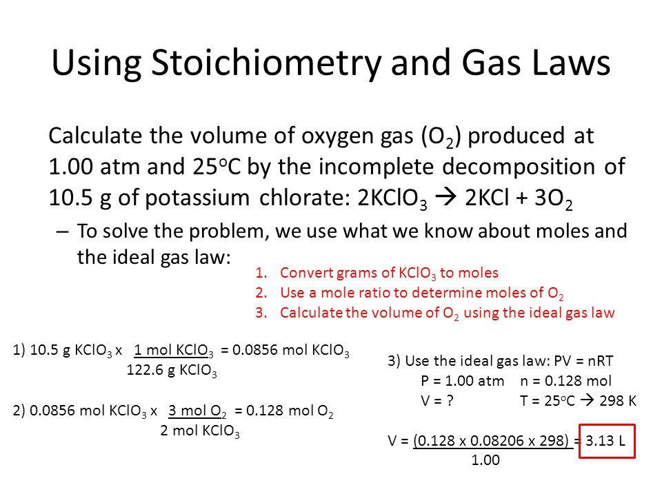 Using Stoichiometry and Gas Laws