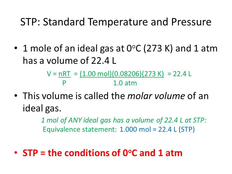 STP: Standard Temperature and Pressure