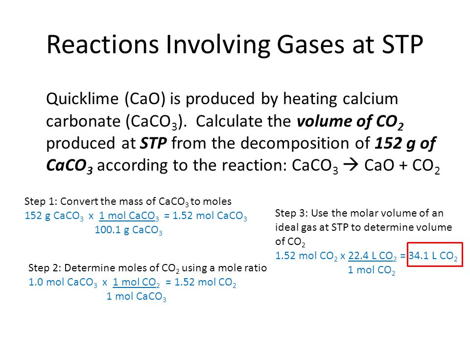 Reactions Involving Gases at STP