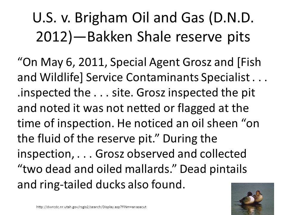 U.S. v. Brigham Oil and Gas (D.N.D. 2012)—Bakken Shale reserve pits