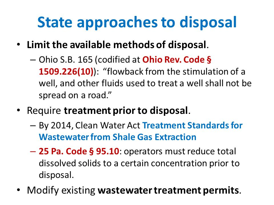 State approaches to disposal