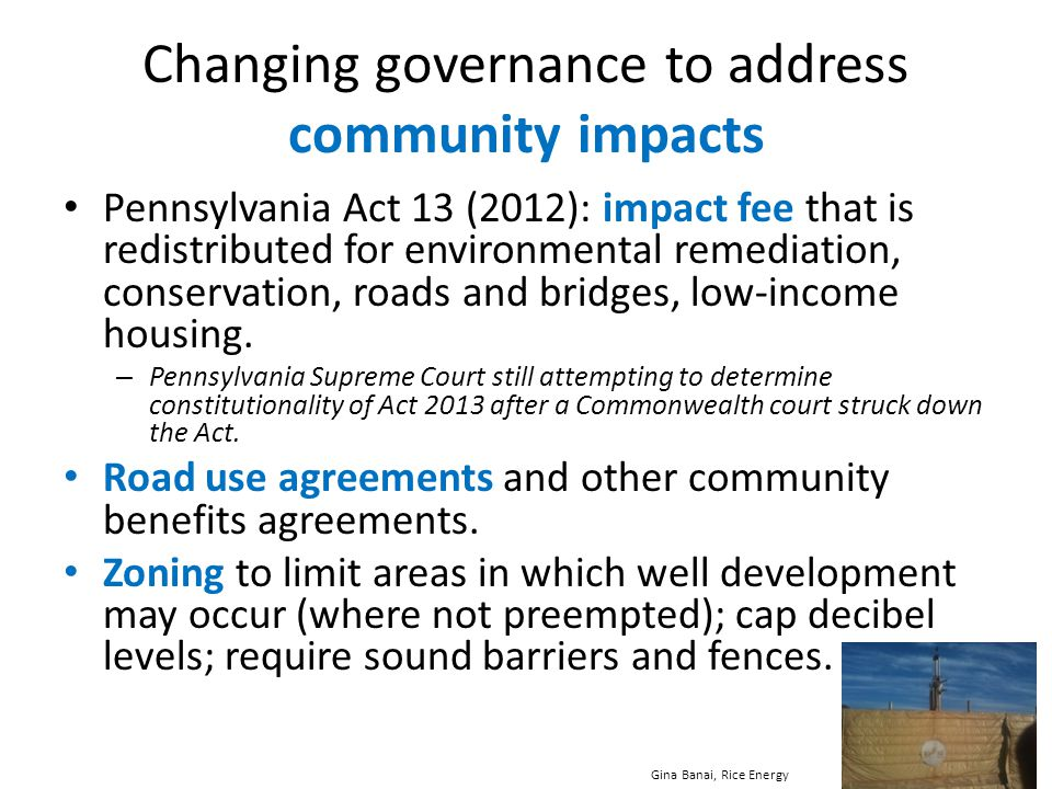 Changing governance to address community impacts