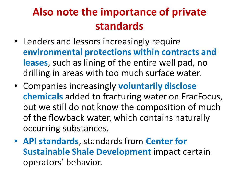 Also note the importance of private standards