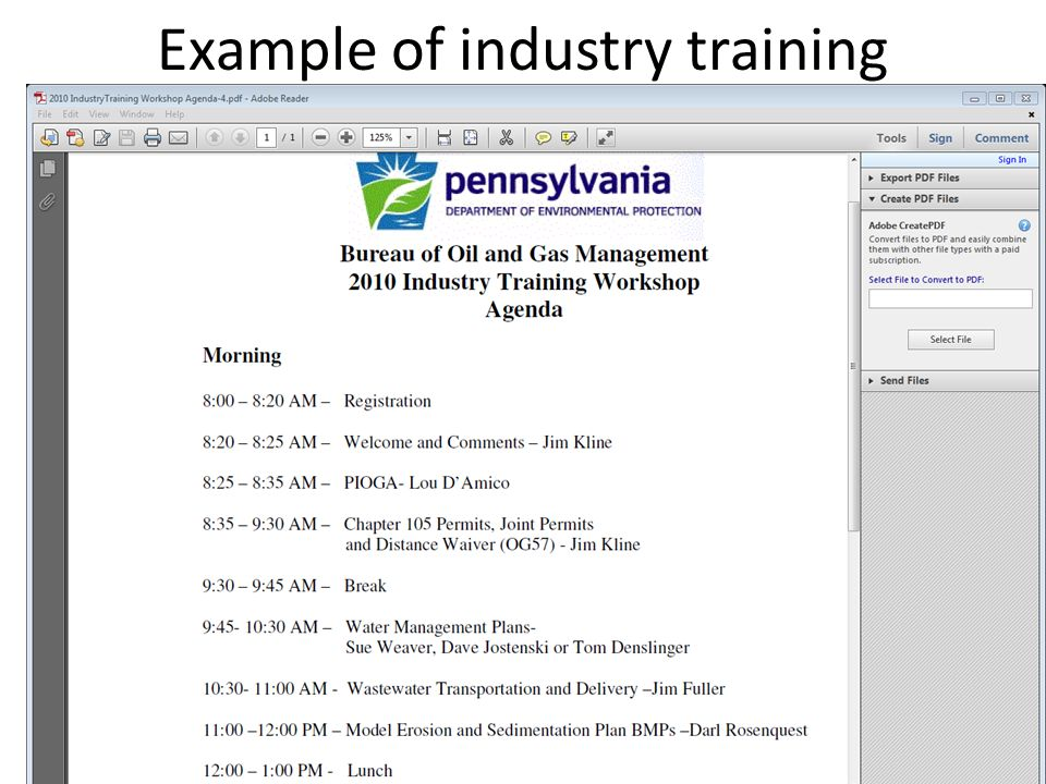 Example of industry training