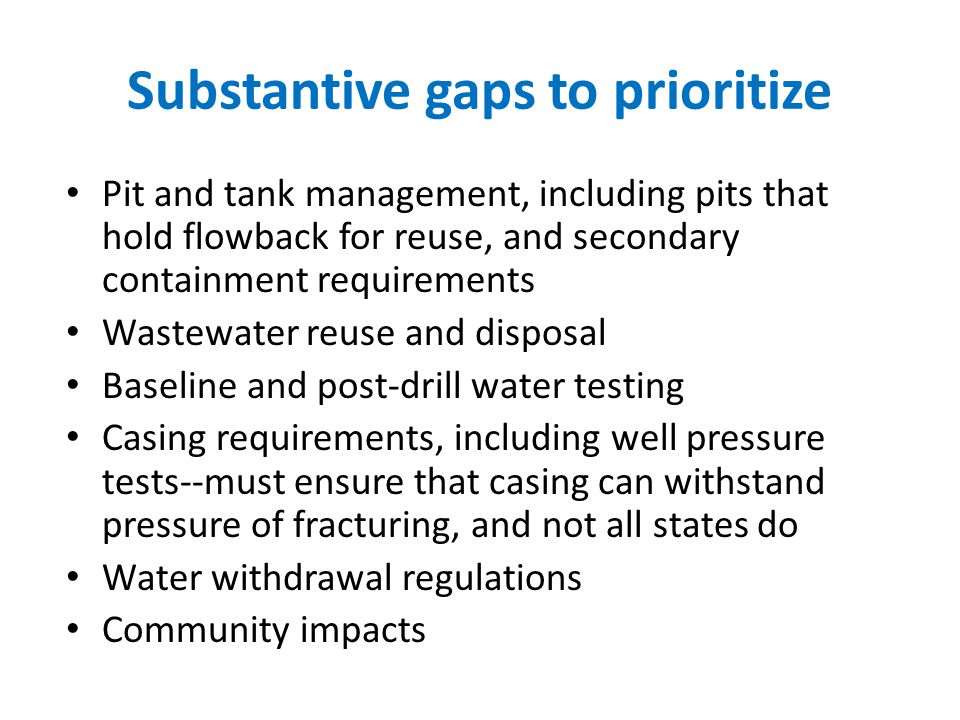 Substantive gaps to prioritize