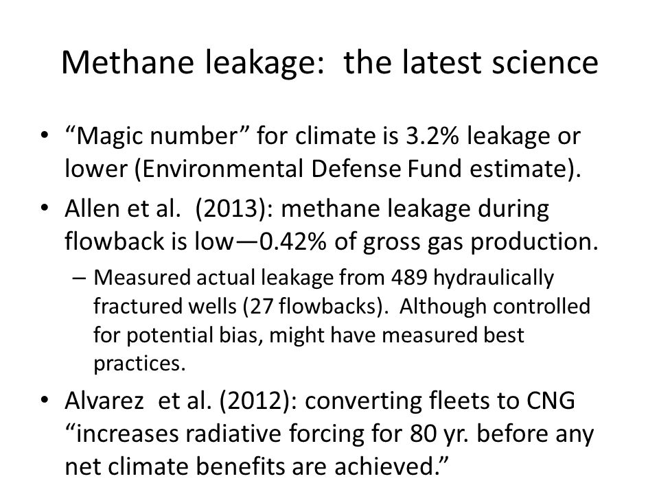 Methane leakage: the latest science