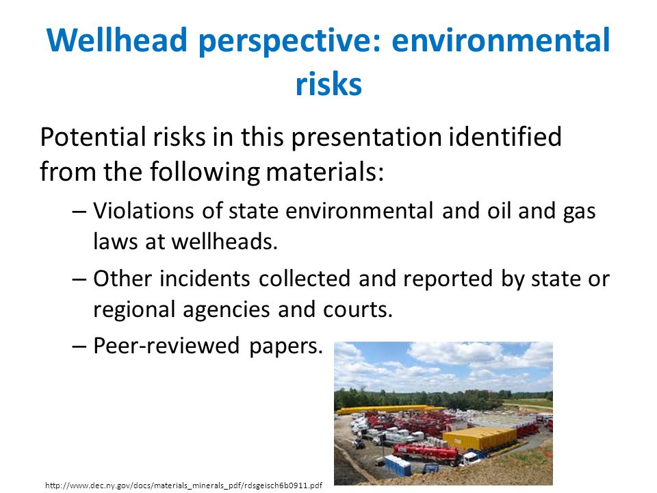 Wellhead perspective: environmental risks